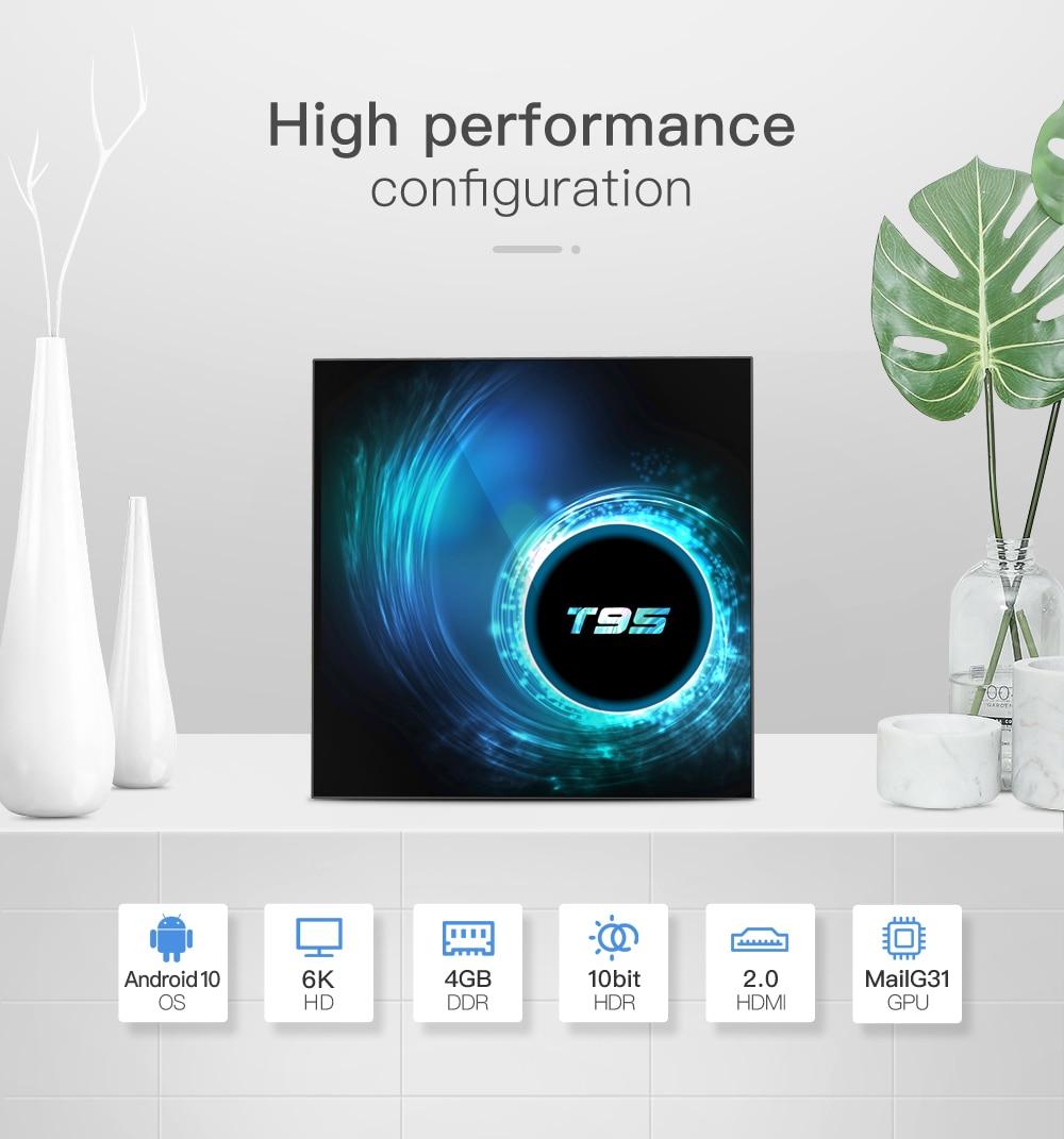T95 TV Box Android 10.0 2GB/16GB 4GB/32GB 64GB 2.4g & 5g Wifi Bluetooth 5.0 Quad Core 1080P H.265 6K YouTube lecteur multimédia