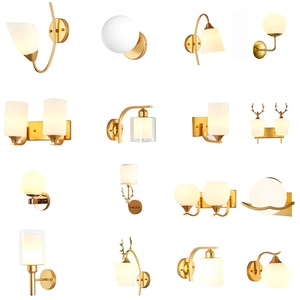 Wall Lamps For Living Room Bracket Light Bedroom Modern Creativity Glass Metal Lampshade Holder Bedside Lamp Stand