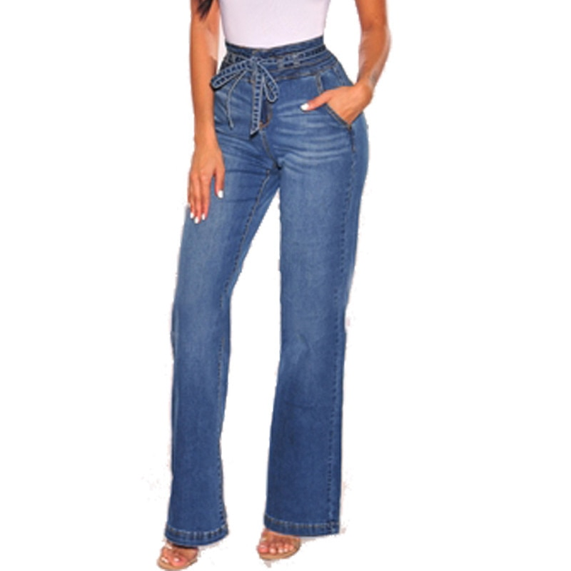 2021 Women's With High Waist Waist, Jeans Woman Wide Leg And Tight Hip Belt In Spring New Fashion