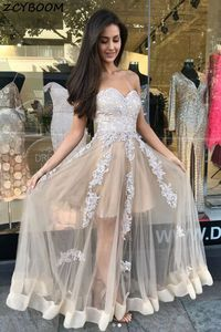 Champagne A-Line Prom Dresses 2021 Women Formal Party Night Vestidos De Gala Sweetheart Neck Long Lace Graduation Evening Gowns
