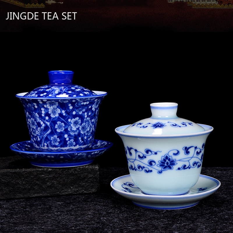 خزف صيني أزرق وأبيض Gaiwan فنجان شاي سيراميك رائع صناعة يدوية وعاء الشاي المنزلي درينكوير كوب شخصي 200 مللي