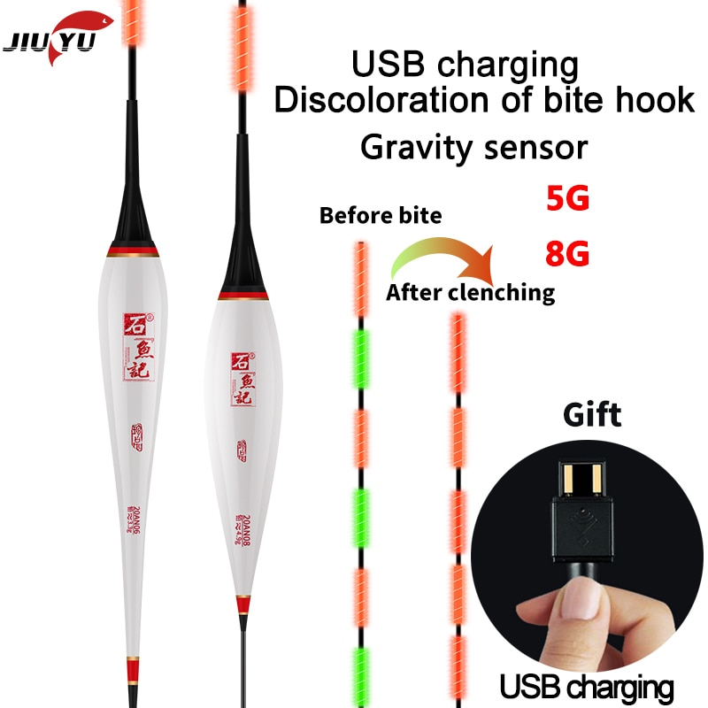 Smart LED Fishing Float USB charging High Sensitivity Alarm Fish Bite Color Change Electronic Buoy Fish Floating Bobber Stick