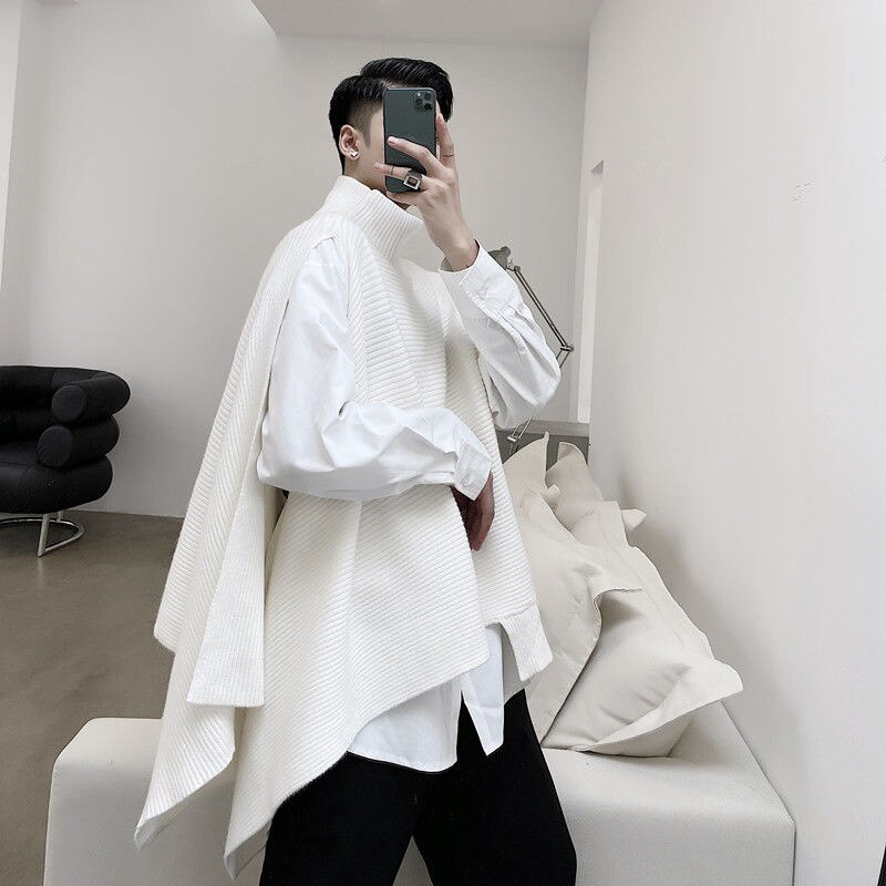 IEFB Men's Wear Niche Design Asymmetric Turtleneck Clock Style Sweater Male's Split Shawl Knitted Tops Trendy Clothes 9Y4071