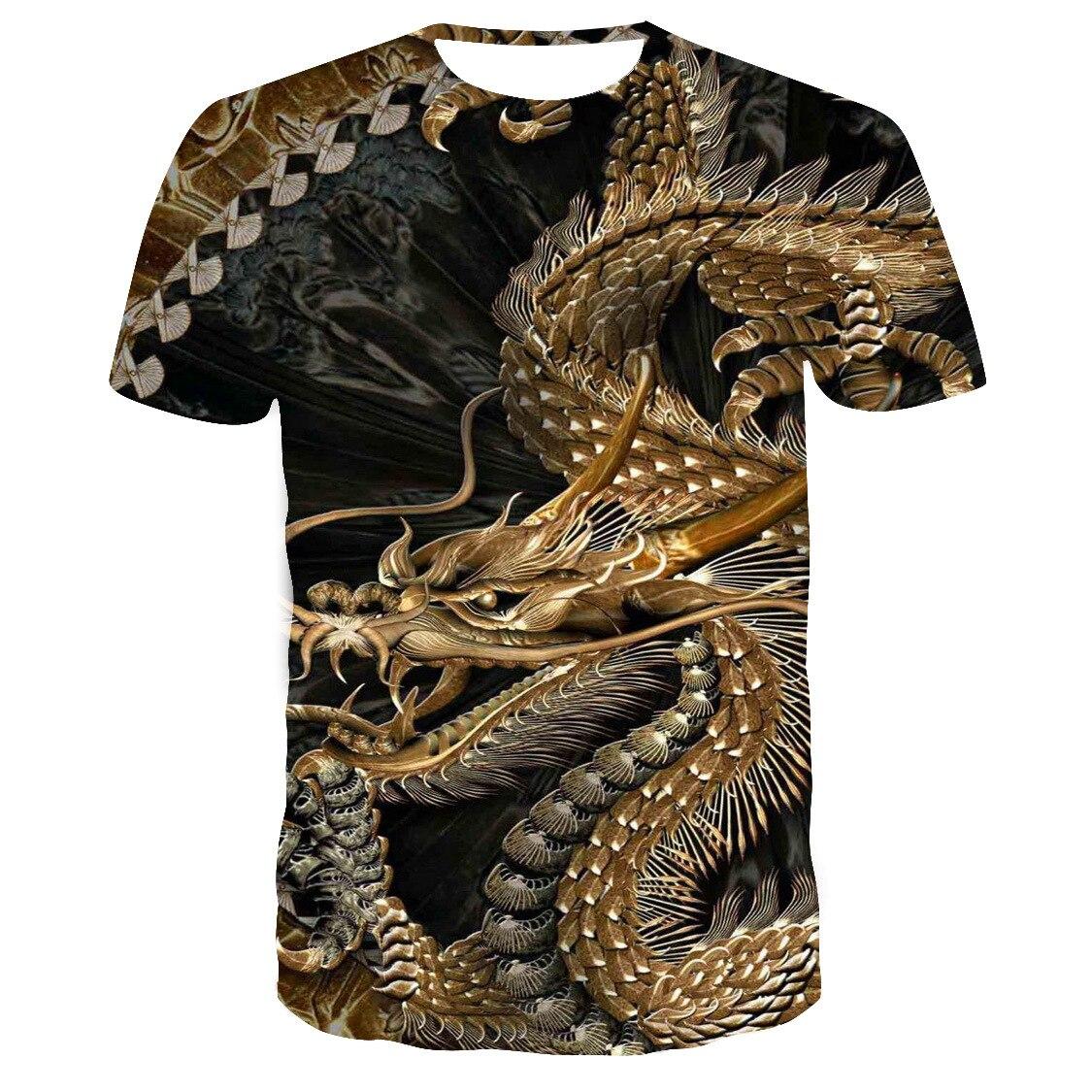 2020 popular novo chinês padrão 3d impressão personalizado dragão camiseta casual e versátil masculino gola redonda camisetas