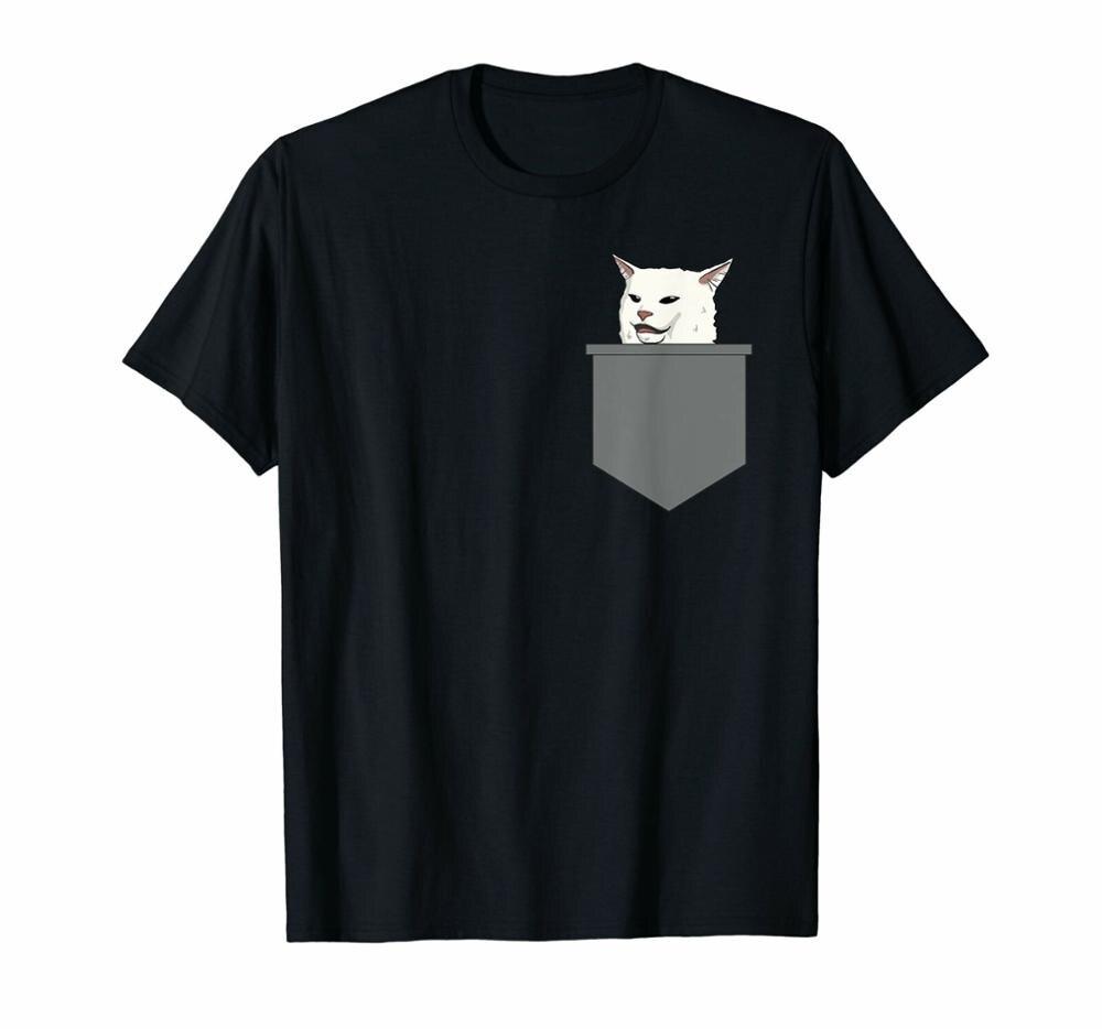 Camiseta con estampado de gato en la mesa de la cena para mujeres molestas 2019 nuevo para hombre
