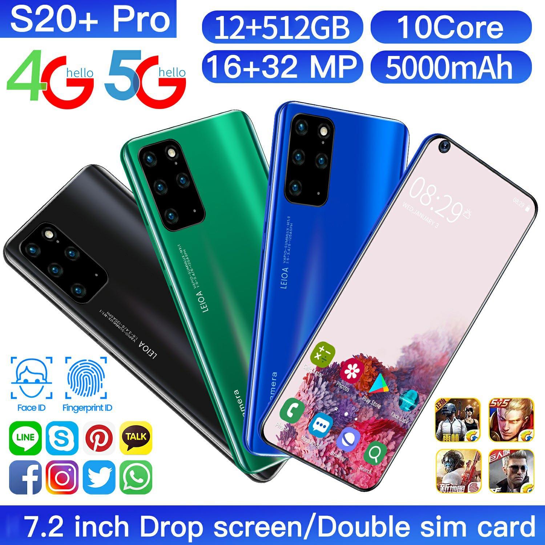 S20 + برو أندرويد 10 الهاتف الذكي 16GB Ram + 512GB Rom ثماني النواة 32mp كاميرا خلفية 4200mAh الوجه بصمة فتح 5G الهاتف المحمول