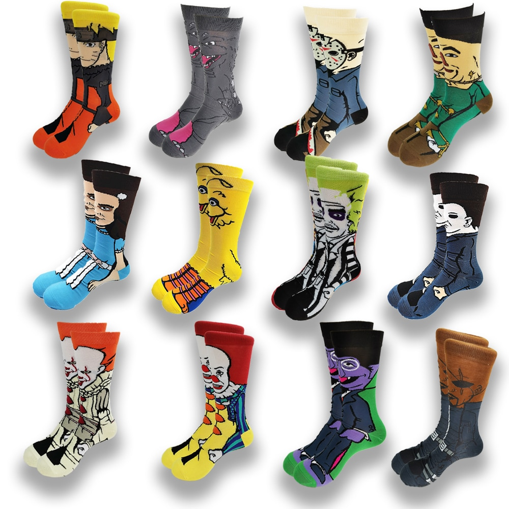 Cartoon Anime Character Mens Socks Funny Casual Street Stance Socks Horror Movie Character Creative