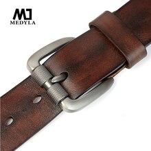 MEDYLA men's leather belt pure leather belt buckle pin buckle belt vegetable tanned leather washed retro craft belt