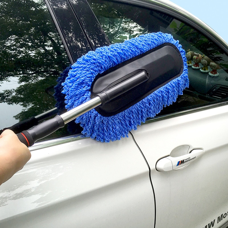1pc microfiber telescoping car body duster wax dust mop cleaning brush cotton nanofiber car microfiber dust grey brush 13 5x40cm Car Wax Brush To Clean Car Wash Mop Nano Fiber Car Dust Duster Car Multi-Function Telescopic Brush Cleaning Tool