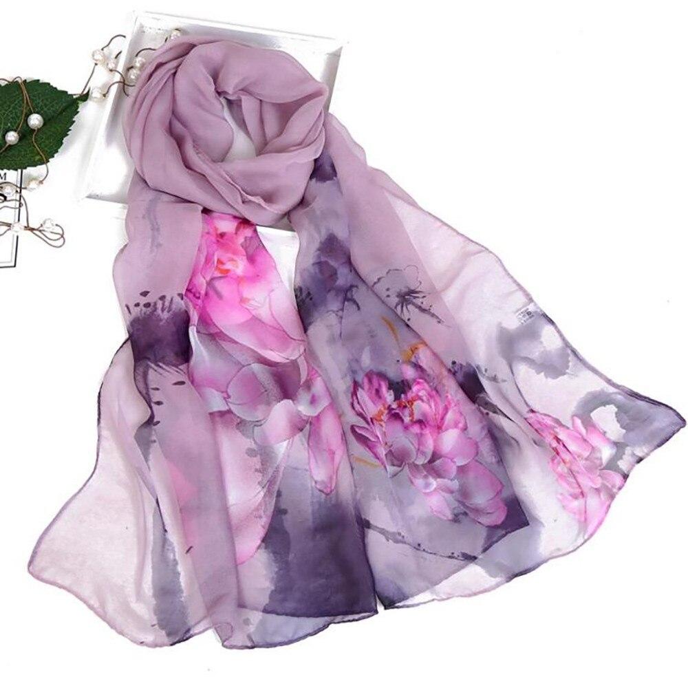 Bufandas de seda para mujer otoño bufanda de seda para mujer con estampado de loto Floral bufanda de abrigo largo suave para mujer chal para mujer 2020 # YL5
