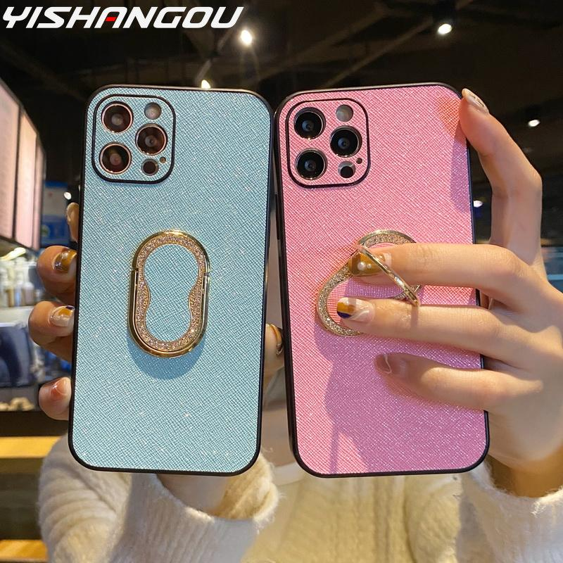 Luminous Night Glow Ring Stand Case For Apple iPhone 12 Pro Max 11 Pro Max XS XR 7 8 Plus 12 mini Shockproof Soft TPU Case Cover