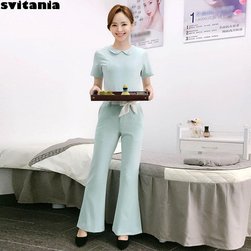 Svitania Women Pants Set Bath Spa Health Club Work Clothes Beauty Parlor Spa Club Work Wear Hotel Work Uniform