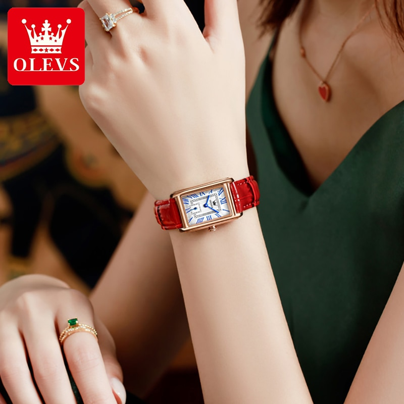 OLEVS Luxury Brand Women's Watches Fashion Casual Red Leather Ladies Watch Roman Digit Rectangle Ana