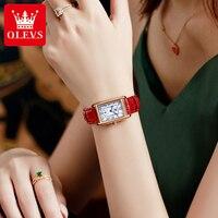 OLEVS Luxury Brand Women\'s Watches Fashion Casual Red Leather Ladies Watch Roman Digit Rectangle Analog Quartz Wrist Watch Clock
