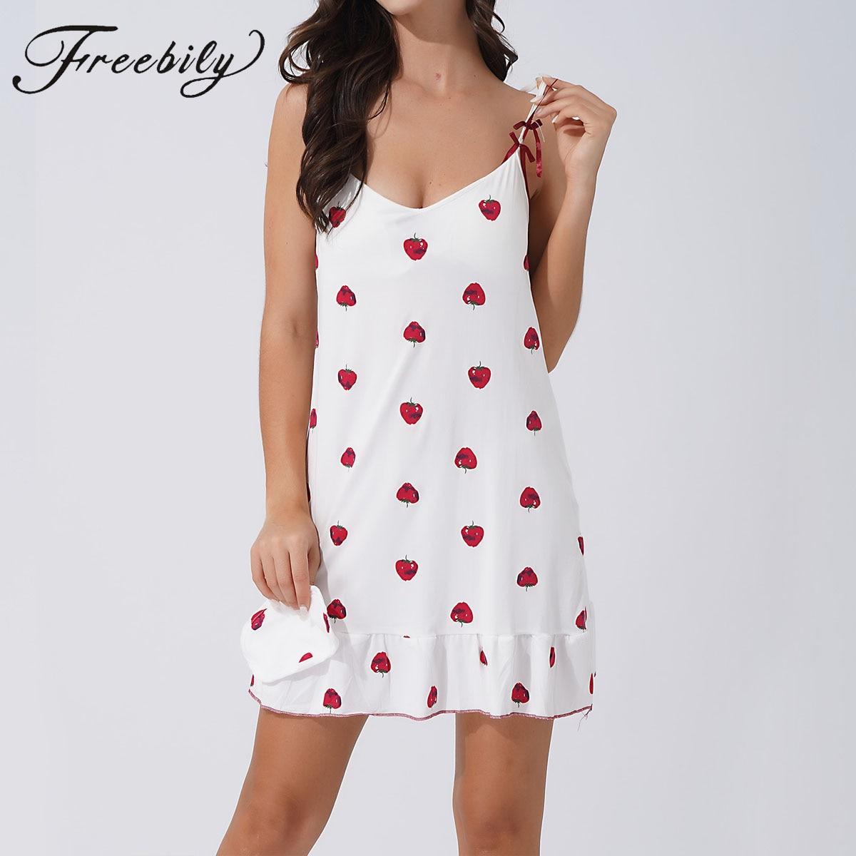Women Cotton Nightdress Cute Cherry Print Nightgown Bow Sling Sleep Wear Pajama Dress girls bow detail cherry print dip hem dress