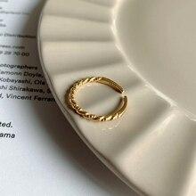 Plata de Ley 925 plateada, anillos finos, Simple, tejido elegante, anillo de cola de oro de 18K para mujer, joyería femenina de estilo Wild INS, regalo