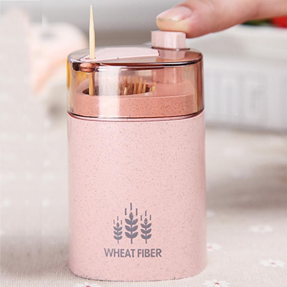 Automatic Toothpick Holder Container Wheat Straw Kitchen Toothpick Bottle Toothpick Box Container Dispenser Holder cartoon frog toothpicks holder automatic toothpick container case creative toothpick box desktop toothpick holder home decor