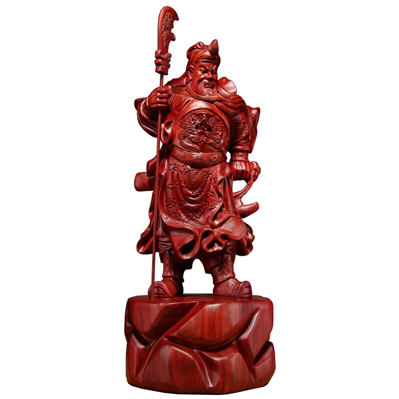 50-100cm Rosa grande de madera rojo Guan Gong decoración de madera maciza Guan Yu estatua Guan Yu tallado artesanía casa culto estatuas