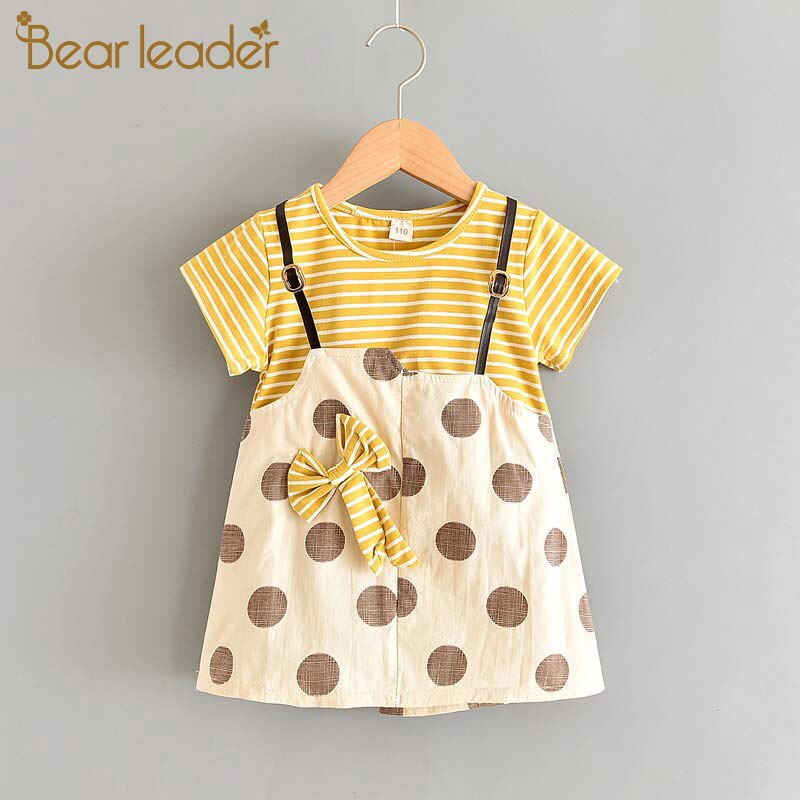 Bear Leader Toddler Baby Dresses New Summer Newborn Kids Girls Striped Dress Print Pattern Rabbit Costumes Girls Baby Clothing