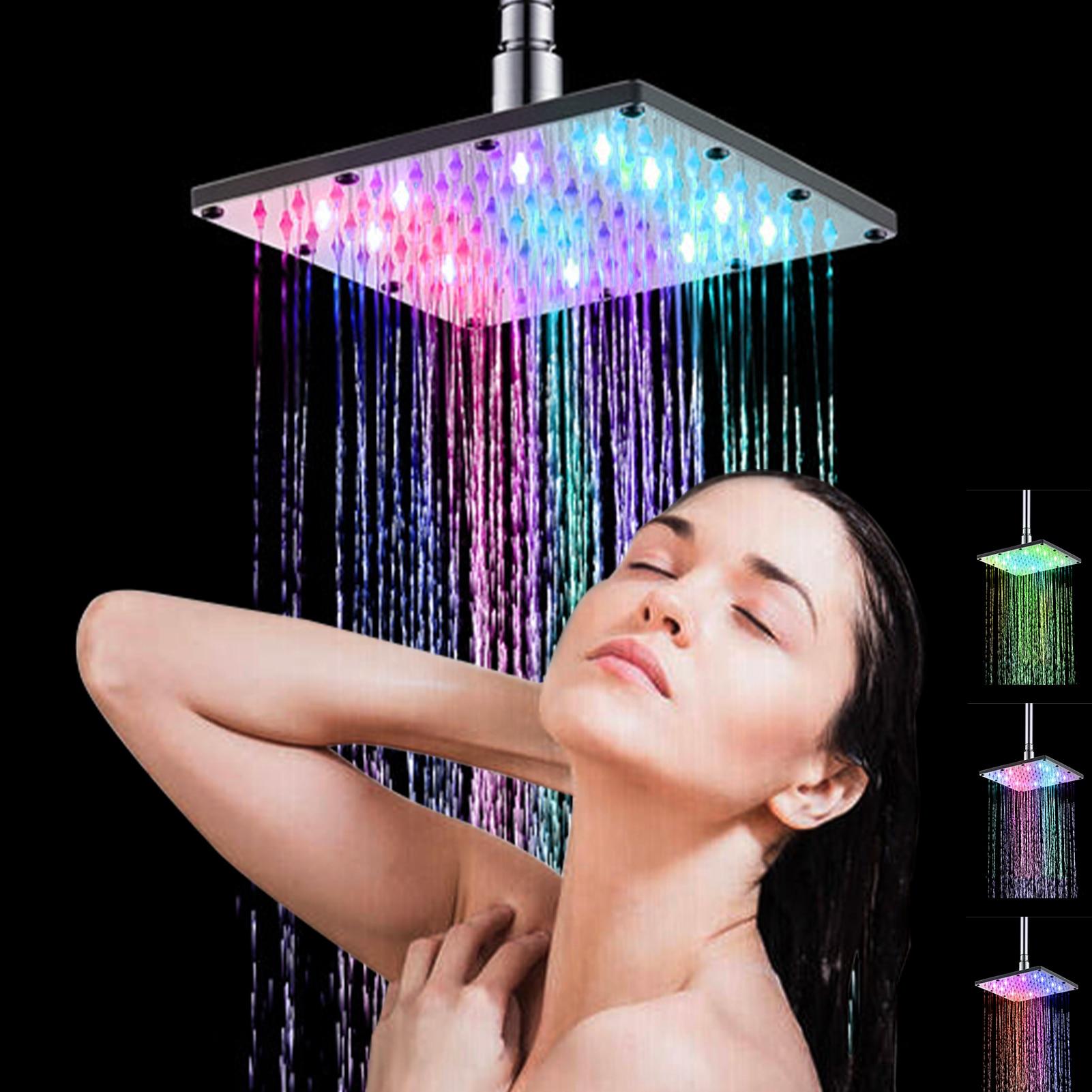 8 بوصة LED الأمطار دش رئيس مربع دش رئيس تلقائيا RGB اللون تغيير درجة الحرارة الاستشعار دش رئيس للحمام