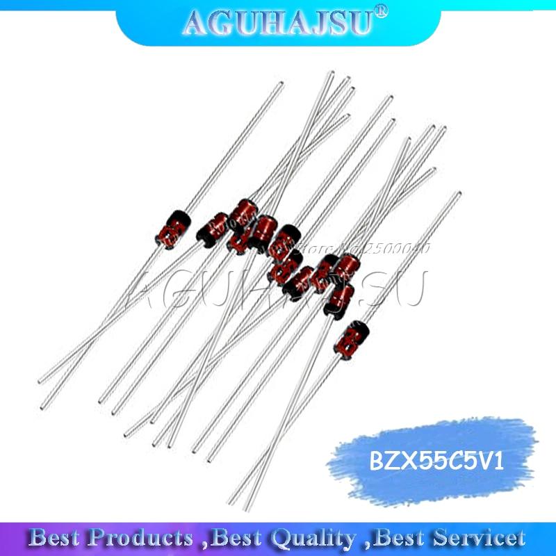 Diodo Zener 100 piezas BZX55C5V1 1N5231B tubo regulador 5,1 V 0,5 W DO-35 tubo regulador