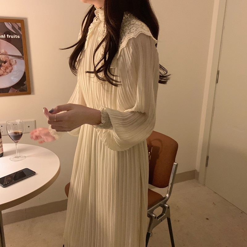 Hfa66c7932d9f4f40b87cb7e64d80633ez - Spring / Autumn Lace Stand Collar Long Sleeves Pleated Midi Dress with Belt