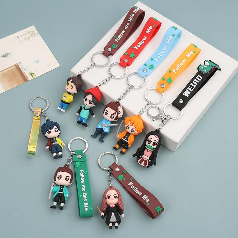 Аниме Bangtan Boys демон убийца: Kimetsu без Yaiba силиконовый для цепочек для ключей, сумок, подвесные Suga камадо Nezuko аксессуары для автомобильных ключе...