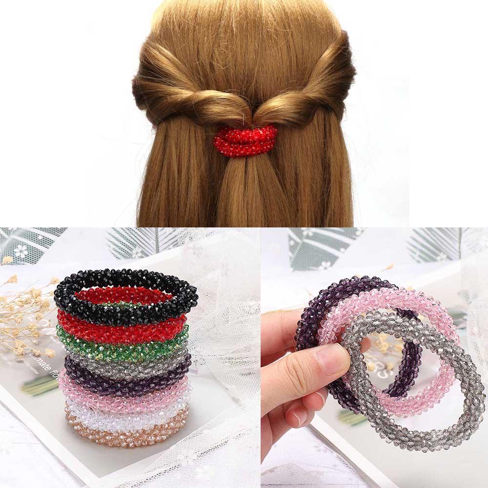 1PC שיער חבל נשים שיער אביזרי קריסטל בגימור קוריאני חמוד מתוק ילדה בציר אלסטי להקות שיער גומי חבל כיסוי ראש