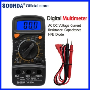 Multifunctional Digital Multimeter AC DC Voltage Current Resistance Capacitance HFE Diode Tester Multimeter With Buzzer