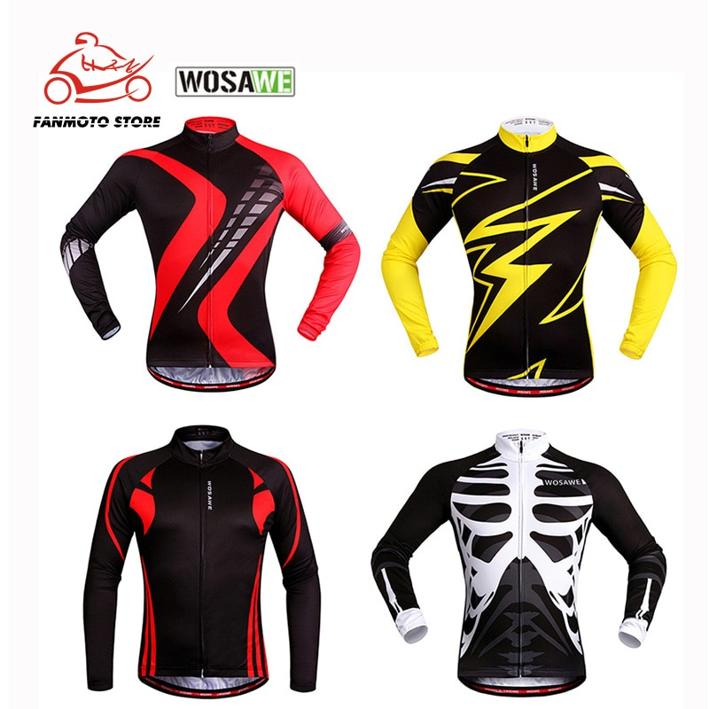 WOSAWE Long Sleeves Cycling Motorcycle Jersey Men MTB Downhill Jerseys Breathable Bike Shirt Motocross Sports Motorbike Clothing