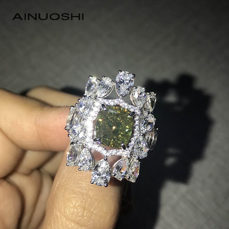 AINUOSHI 14K/18K الذهب 7.5X8.5mm أحجار بمقطع مشابه لشكل الوسائد 3.0ct الأخضر AINUOSHI حجر مزدوج هالو خواتم حفلة فاخرة للنساء مجوهرات أنيقة