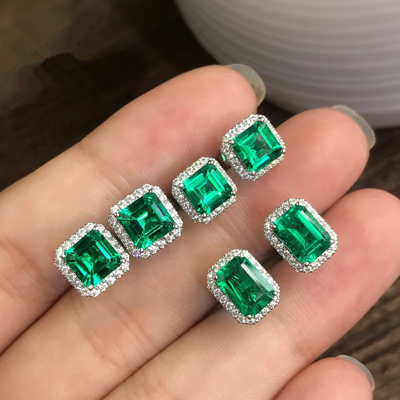 AliExpress - 2021 New Luxury Princess Green Color Earring For Women Anniversary Gift Jewelry Wholesale Moonso E6049
