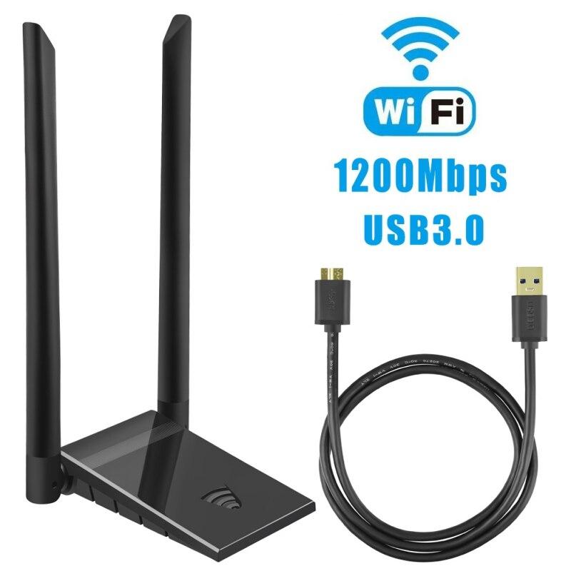Zl usb wifi adaptador, sem fio 1200mbps rede wi-fi dongle 6dbi para computador para windows 10/8.1/7/xp/vista/mac os