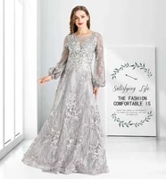 muslim evening dress gray luxury long sleeve 2021 dubai sequin for women party wedding prom ho1069