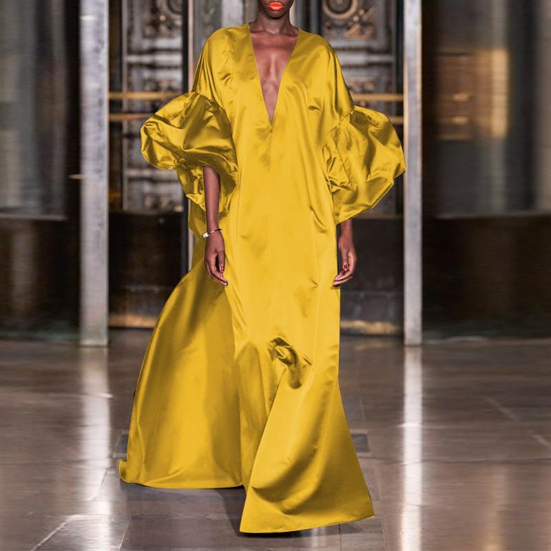 فستان نسائي صيفي فوندا 2021 بأكمام واسعة بوهيمية فستان صيفي فضفاض مثير بياقة على شكل V للشاطئ فستان صيفي من الساتان مقاس كبير