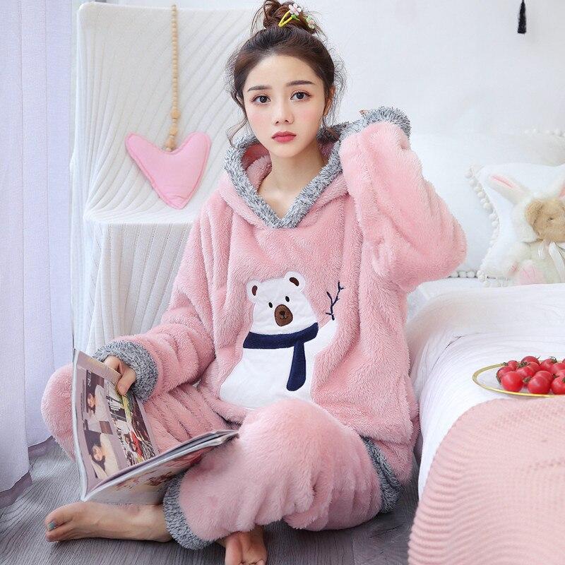 Conjunto de pijamas para mujer, pijamas gruesos de franela, conjunto de ropa con forma de oveja, conjunto de pijama de invierno cálido para mujer, ropa de dormir de dibujos animados de manga larga
