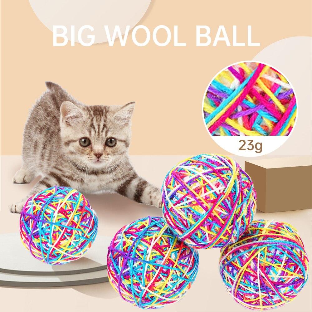 (Случайный Цвет) Новая игрушка для кошек диаметром 9 см большой шарик из пряжи забавная игрушка для кошек устойчивая к царапинам и укусам инт...