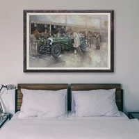 Peinture classique de voiture de course retro verte  11 affiches en soie personnalisees  decoration murale  cadeau de noel  T168