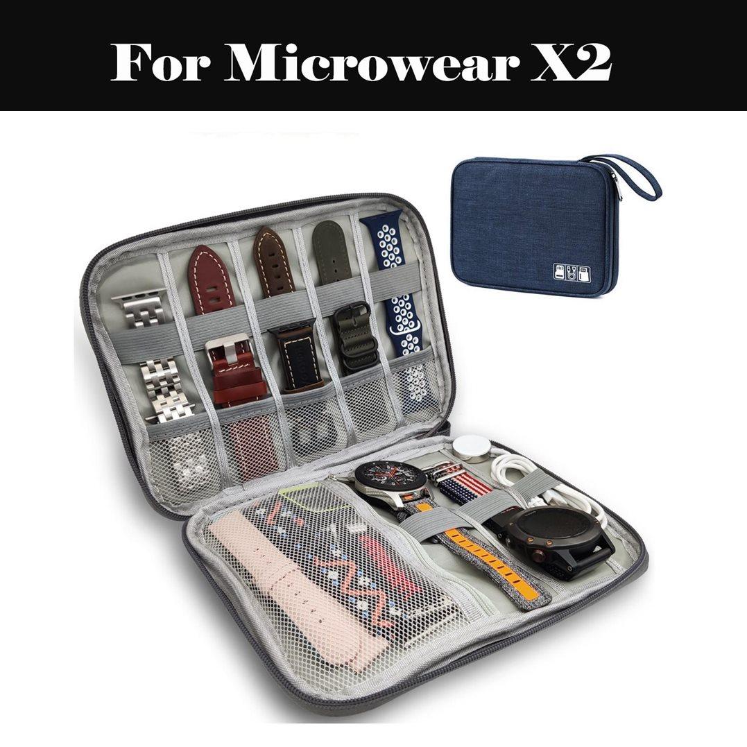 Pulseira de relógio caixa portátil alça organizador náilon resistência ao desgaste sólido saco de armazenamento para microondas x2