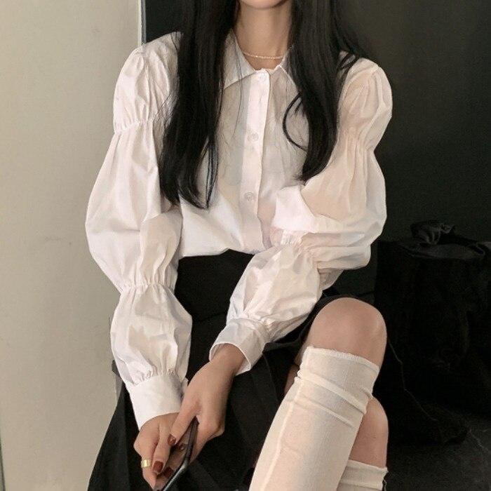 White Shirt Women's  Autumn 2021 New French Hong Style Women Shirts Design Sense Of Loose Bubble Lon