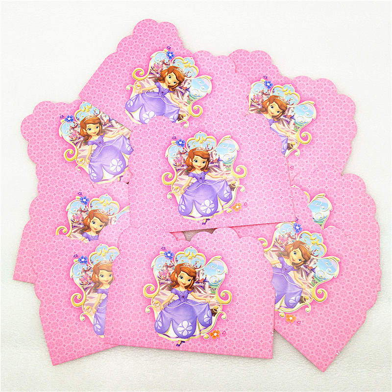 Disney Princess Sofia Children's Cartoon Holiday Party Toy Set Pennant Paper Cup Paper Plate Tableware Birthday Decorations