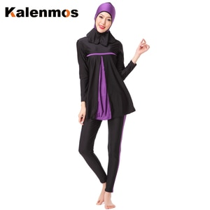 Kalenmos Muslim Swimwear Women Arab Islamic Hooded Swim Wear Bathing Burkini 3 Piece Suits Swimsuit Modest Swim Surf Wear Sport