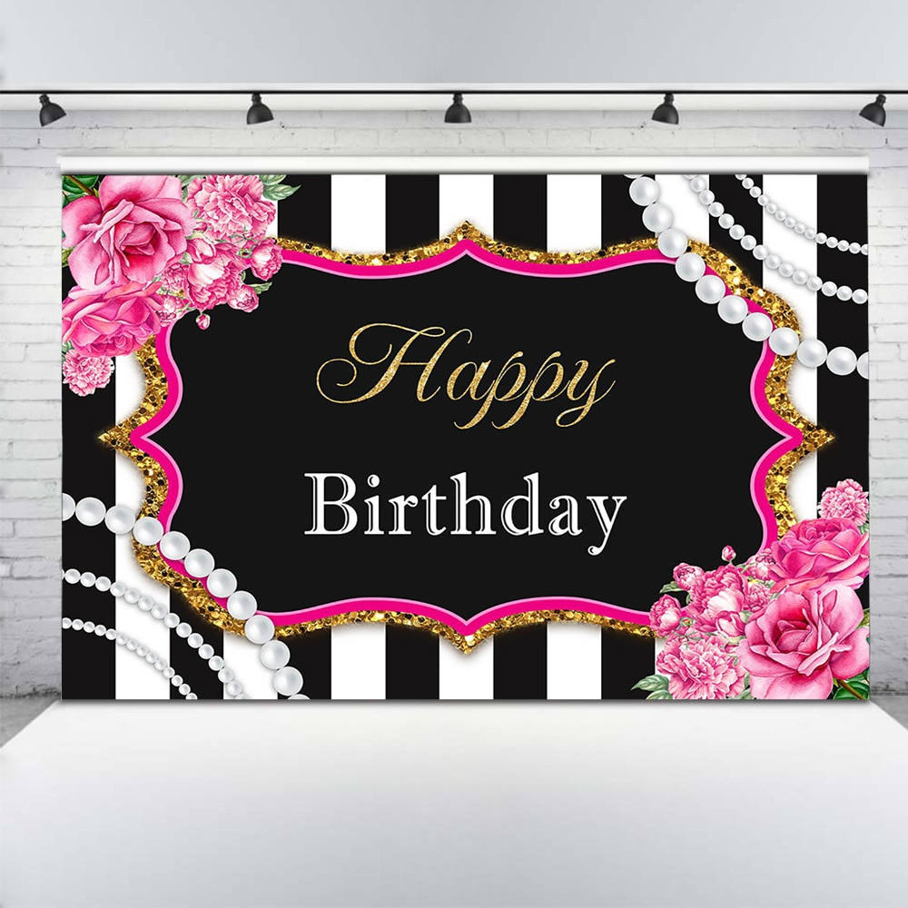 Adult Happy Birthday Background Photography Woman Floral Birthday Party Cake Table Backdrop Decor Stripe Rose Pearl Photographic enlarge