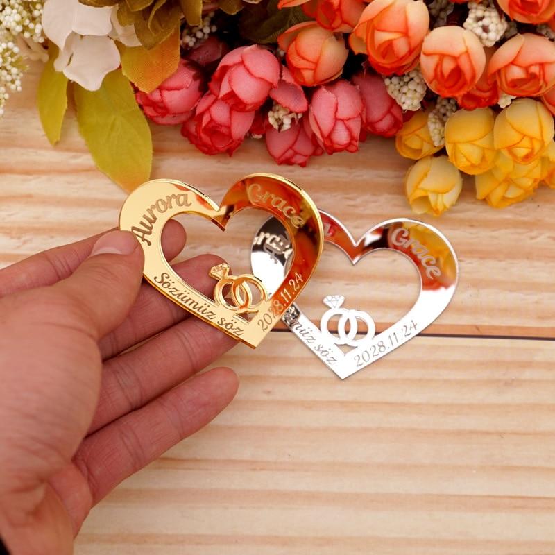 30 шт., персонализированное зеркальное кольцо в форме сердца, 6 см, имя на заказ, свадебное украшение, ярлыки, карточки, акриловые подарки для г...
