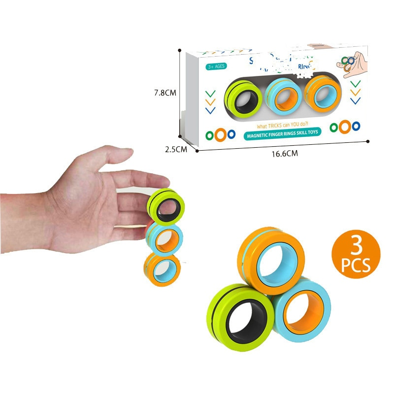 Fidget Toys Three-ring Magnetic Ring Pressure-relief Toy Arbitrarily Rotated Pressure-relief Children Adult Magic Fidget Toy enlarge