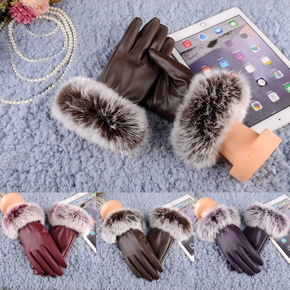 faux fur Party Gloves Mittens Cashmere Leather Mitts Keep Warm Full Finger Breathable Anti-shock Glo
