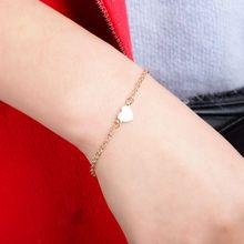 Simple charm bracelet Sexy Heart-shaped Love Heart Bracelet gold color Jewelry Ladies Metal Popular silver jewelry women