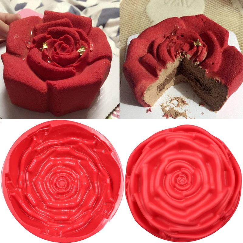 Bandeja para hornear de flor Rosa grande de 24*24cm molde de silicona para pastel gran forma de silicona plato para hornear, para pastelería, utensilios para hornear molde para pan tostado