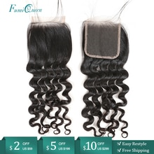 Perruque brésilienne Remy ondulée 10 à 20 pouces-Ali FumiQueen   4x4, 100% cheveux naturels, Swiss Lace Closure, avec Baby Hair, partie libre