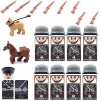 11pcslot infantry soldier horse dog rifle guns moc city swat military weapons playmobil figures building block brick mini toys